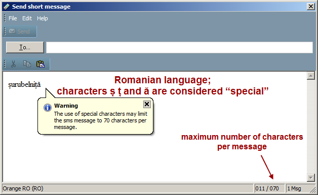 "SMS message composition, Romanian language, ""special"" characters"